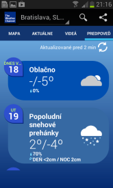 The Weather Channel Android aplikacia