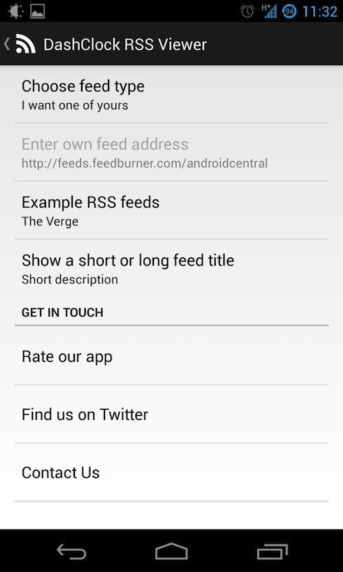 DashClock RSS Viewer Extension: RSS čítačka na uzamknutej