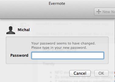 Evernote odporúča zmeniť si nové heslo.