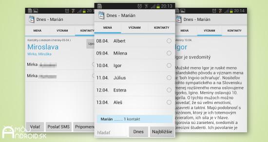 Meniny a mena Android aplikacia MojAndroid 2