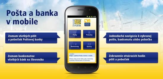 Posta a banka Android aplikacie
