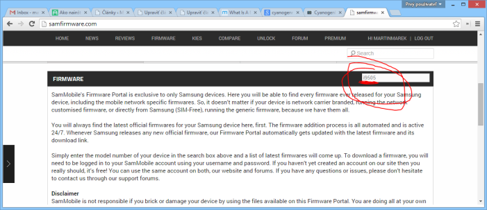 screenshot stiahnutie firmware zo samfirmware.com