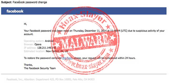 Takto vyzerá falošný e-mail od Facebooku.