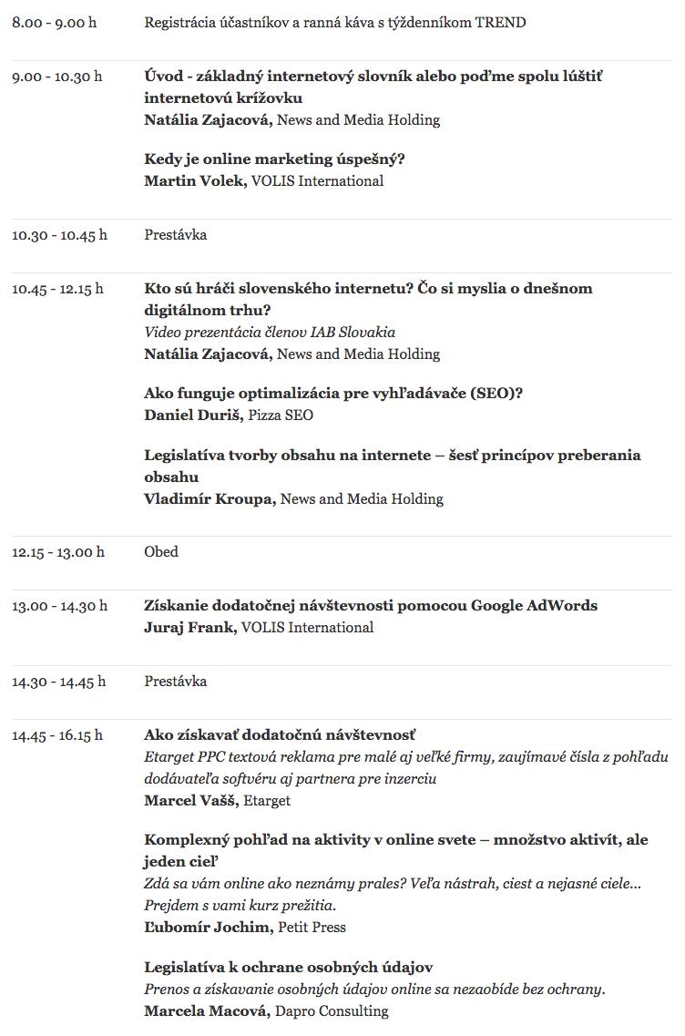 TREND Online academy jeseň 2015   Iné podujatia   TRENDkonferencie.sk