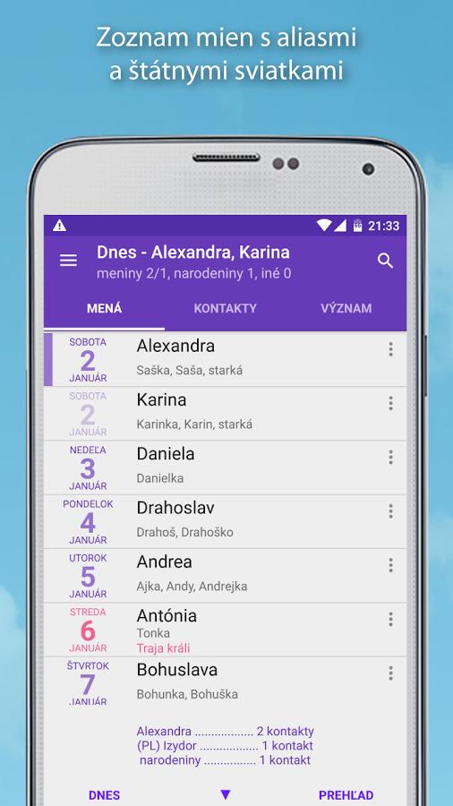 kalendar menin Slovenská aplikácia Meniny a mená si sviatky zapamätá za vás kalendar menin