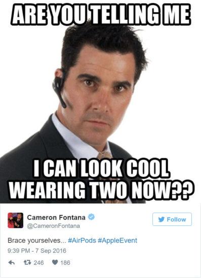 Chcete mi povedať, že teraz budem vyzerať cool, keď budem nosiť dve slúchadlá?