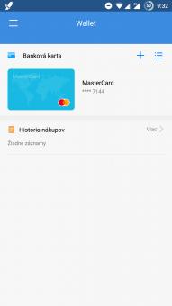 Huawei Wallet po spustení aplikácie aj s pridanou plat. kartou