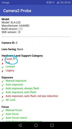 Smartfón by mal podporovať Level 3 v aplikácii Camera2 API Probe