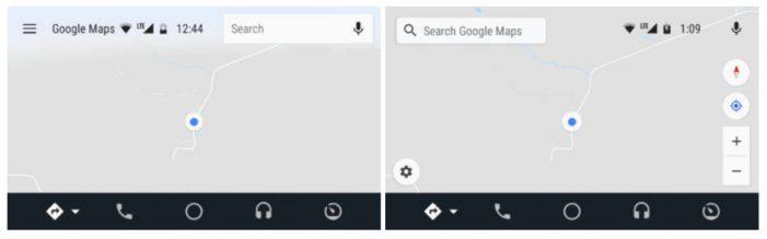 Naľavo sa nachádza staršia verzia s menu v hornej časti, napravo je nová verzia s chýbajúcim menu