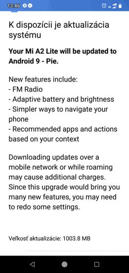 Screenshot popisu balíčku s aktualizáciou na Android 9.0 Pie pre Xiaomi Mi A2 Lite