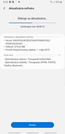 samsung galaxy S9+ aktualizácia máj 2019