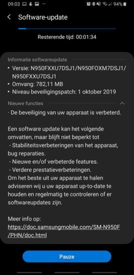 Samsung Galaxy Note 8 bezpečnostná záplata 10:2019