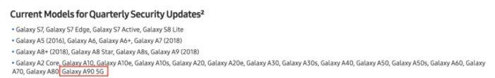 Samsung updaty zoznam