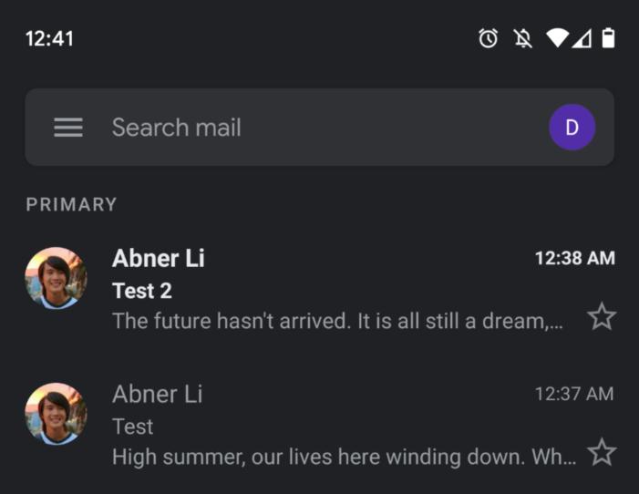 Gmail tmavý režim inbox