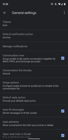 Gmail tmavý režim 2