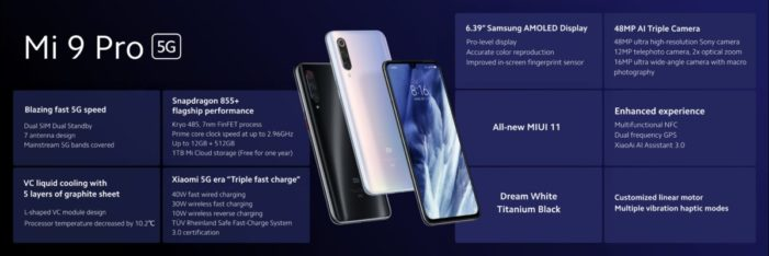 Xiaomi Mi 9 Pro 5G špecifikácie