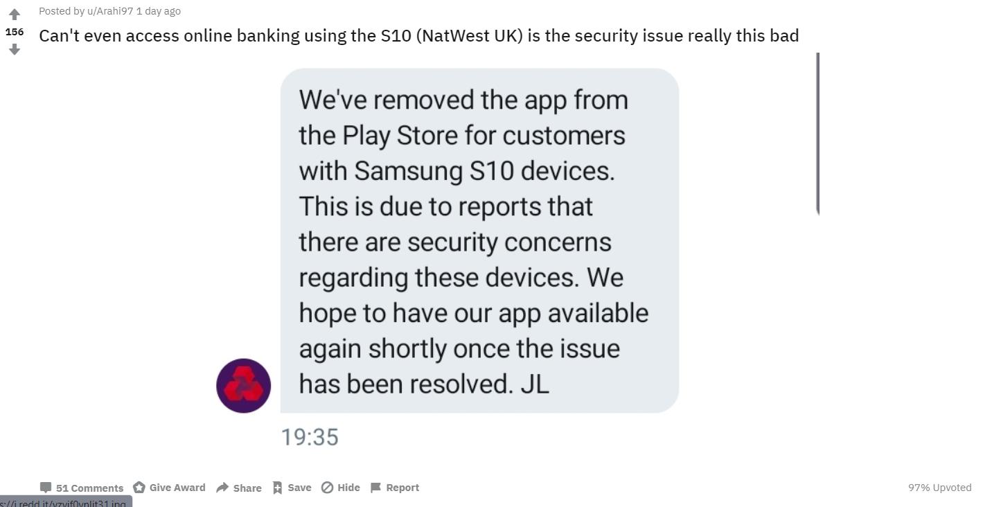 Samsung Galaxy S10 skener banky