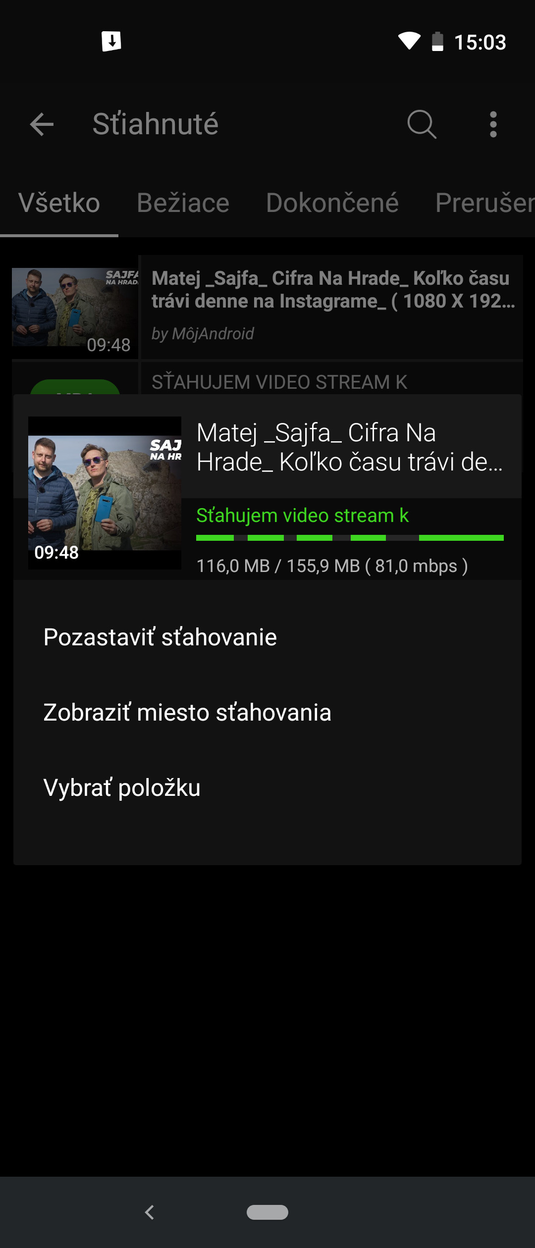 Ako stiahnuť video z YouTube Videoder 01