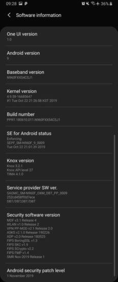 Samsung Galaxy Note 9 bezpečnostný update