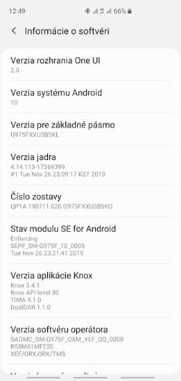 Samsung Galaxy S10 aktualizacia Android 10