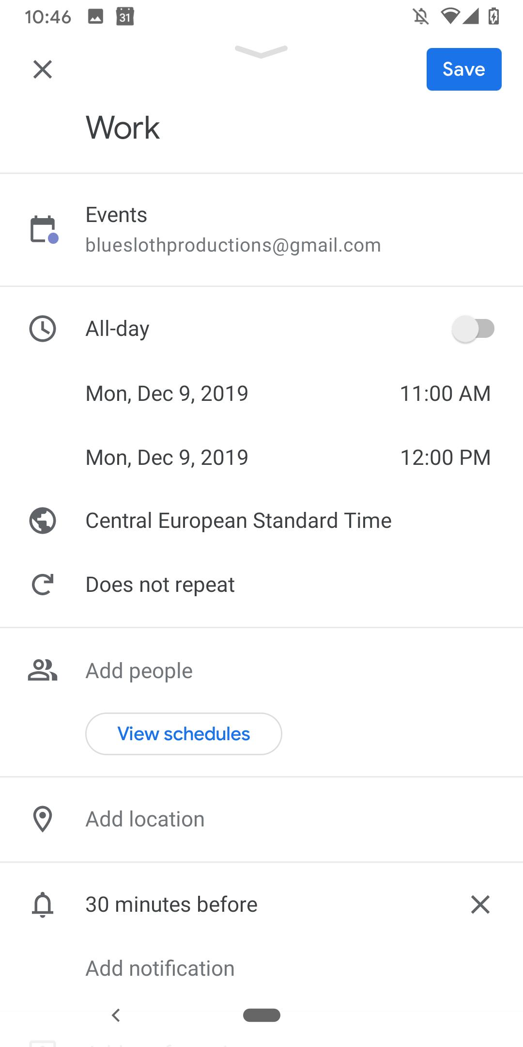 Google Kalendár udalosti 2