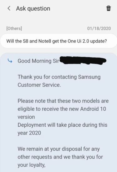 Samsung Galaxy Note 8 S8 Android 10