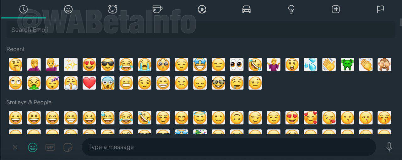 WhatsApp desktop tmavý režim emoji