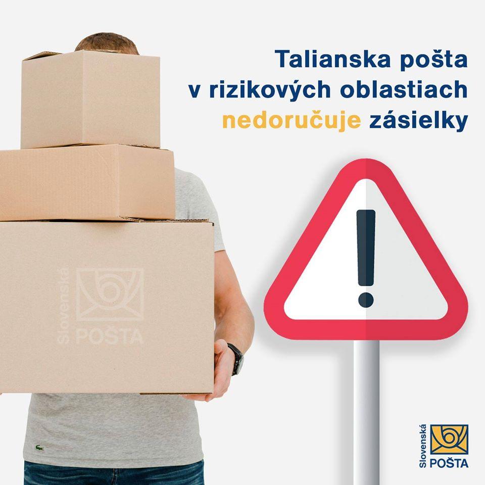 Slovenská pošta neprijíma balíky určené do Talianska