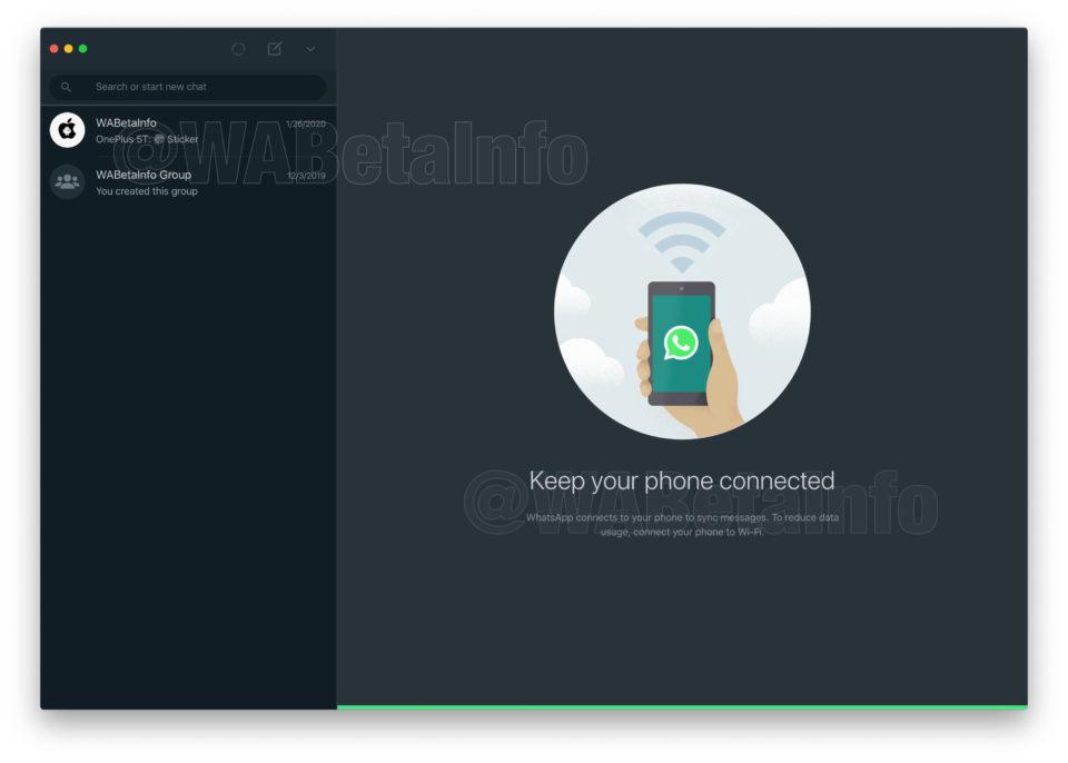 WhatsApp desktop tmavý režim 1