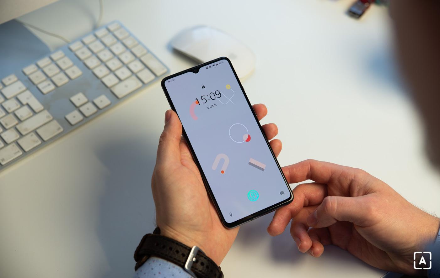 OnePlus 7T skener odtlackov odomykanie