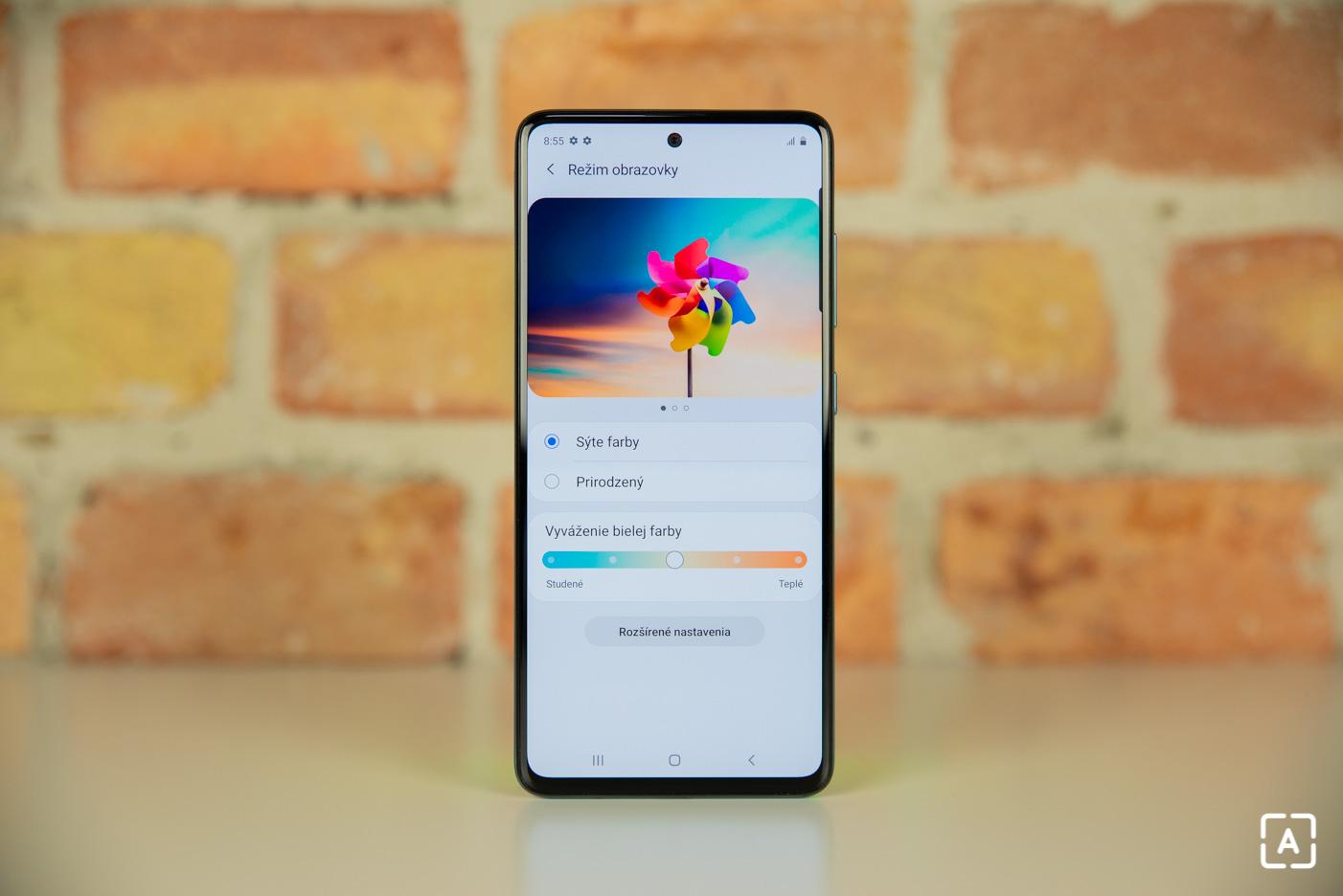 Samsung Galaxy A51 nastavenia displeja displej