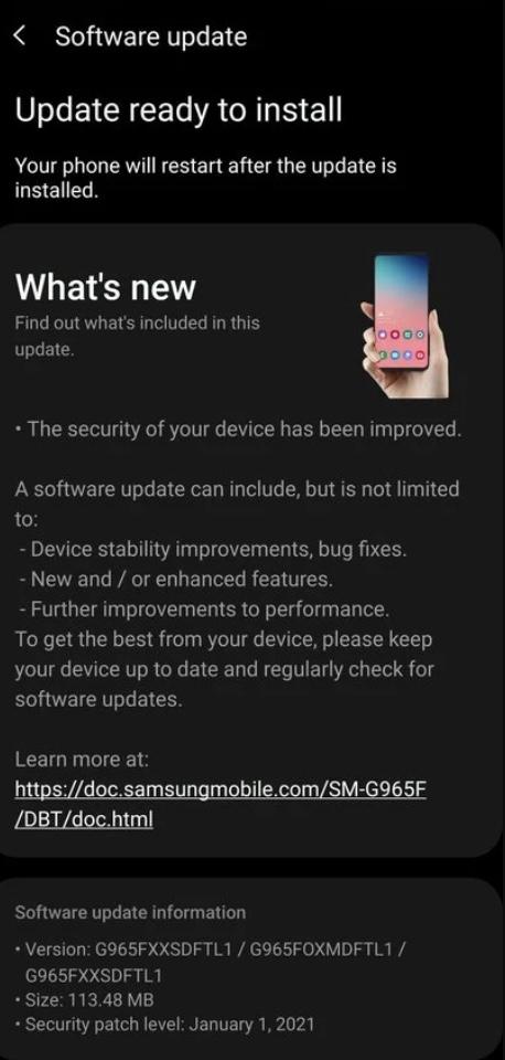 Samsung galaxy s9 bezpecnostna aktualizacia 2021