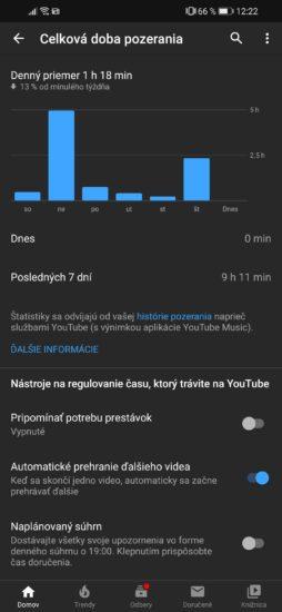 Celková doba pozerania videí na YouTube