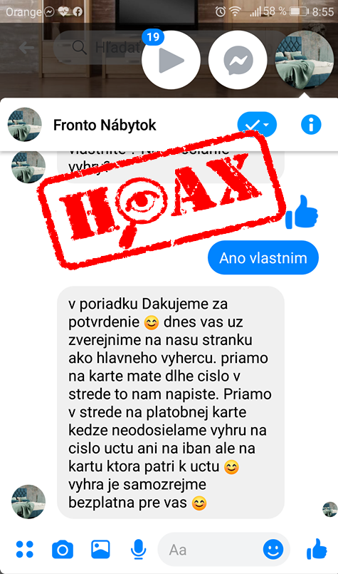 hoax podvod fronto nabytok