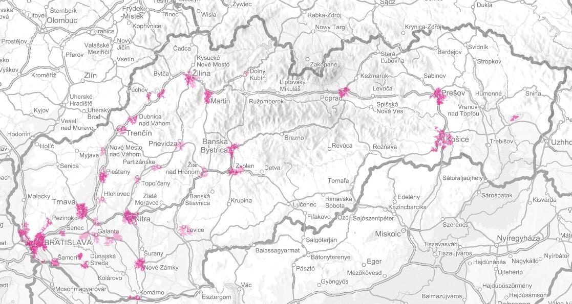 Mapa pokrytia sieťou LTE Advanced od Telekomu.