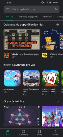 Základné rozhranie Obchodu Play