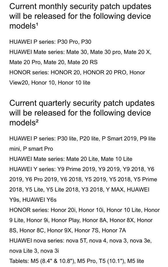 Zoznam zariadení, ktoré dostávajú aktualizácie, avšak bez P20 a P20 Pro
