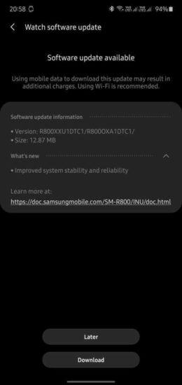 Samsung Galaxy Watch aktualizácia