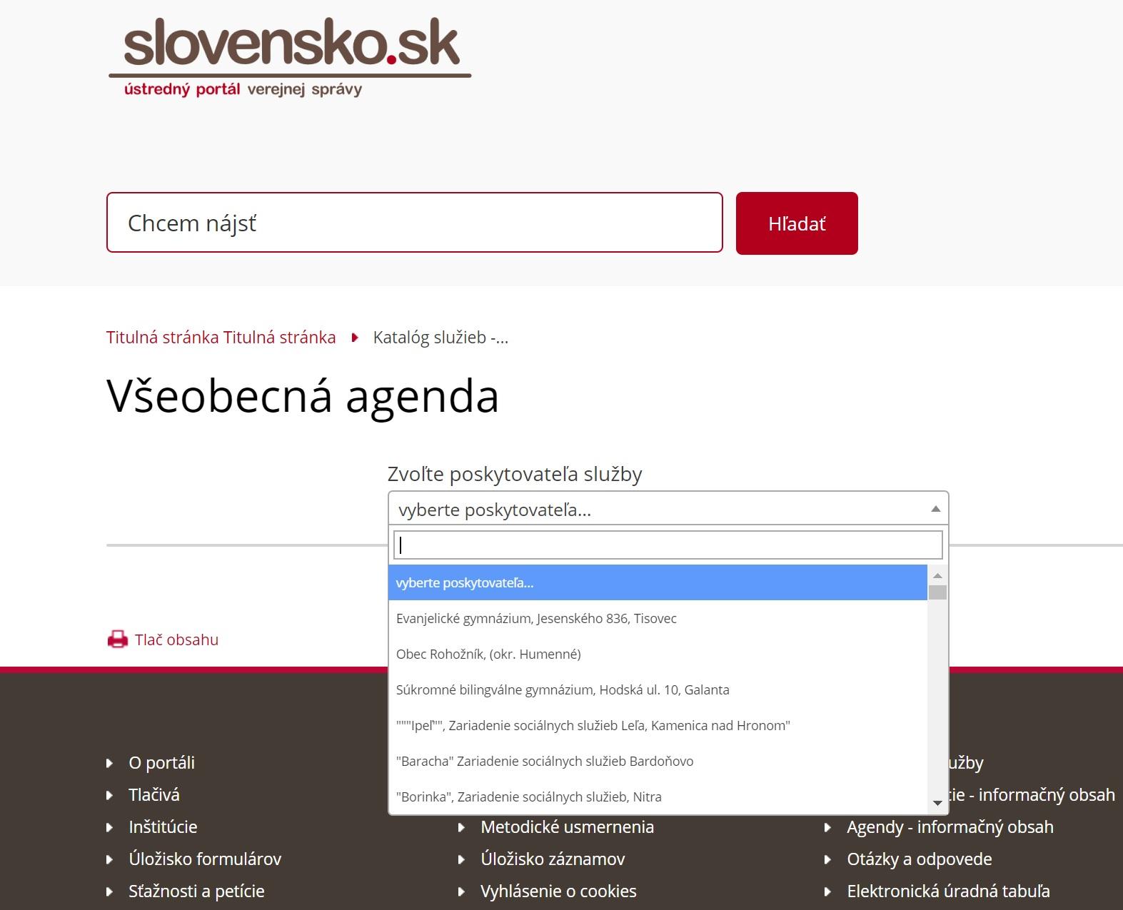 slovensko.sk hladanie