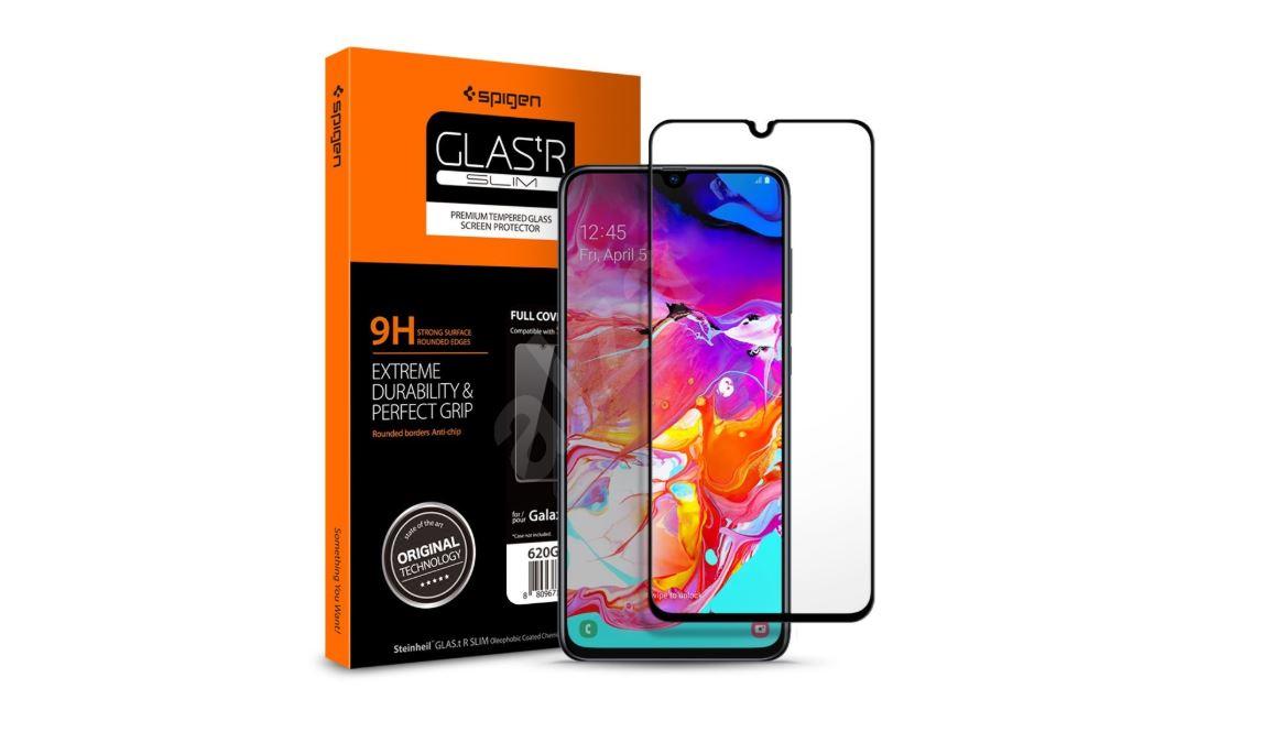 Spigen Glass FC Black príslušenstvo pre Galaxy A70