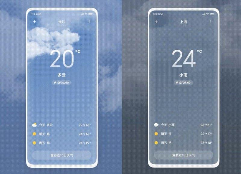 MIUI 12 počasie