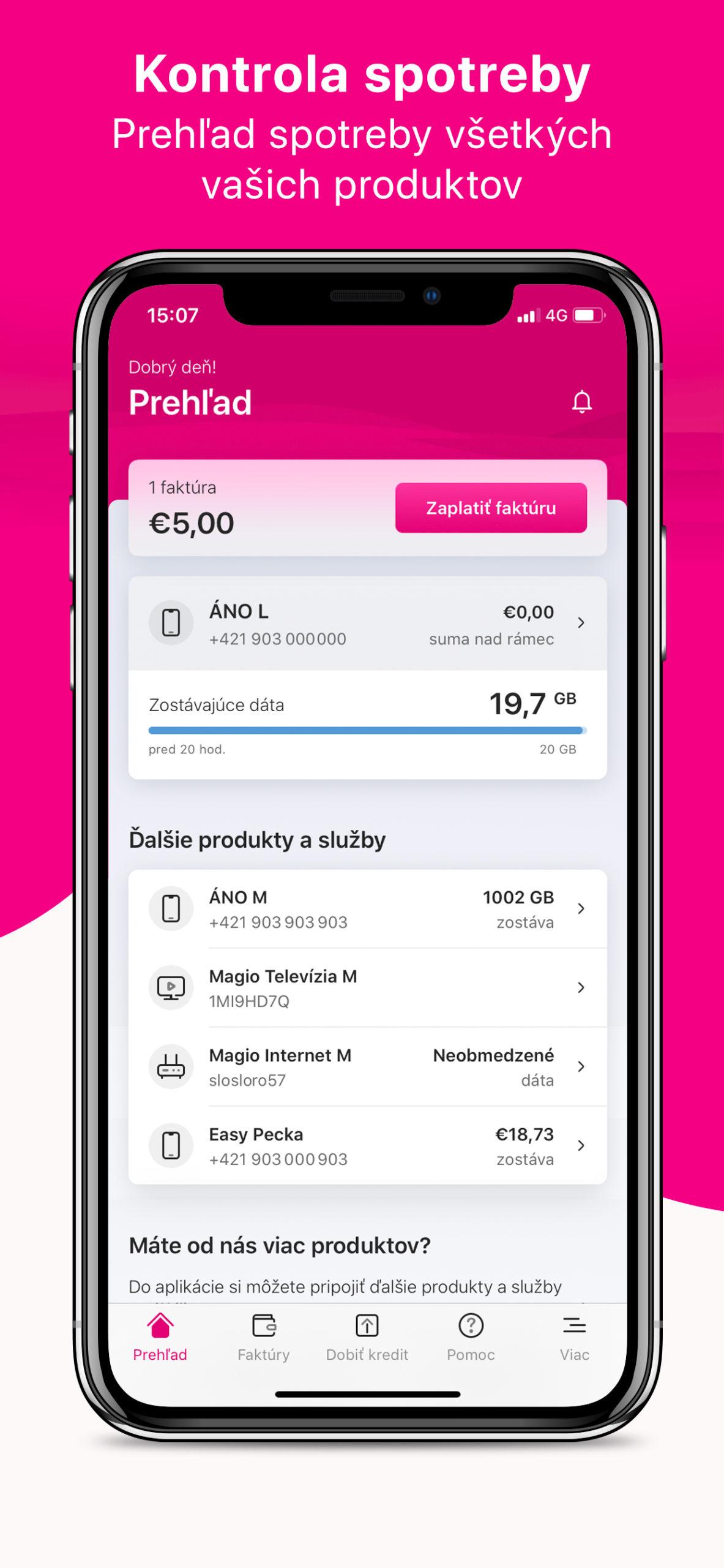 Telekom kontrola spotreby