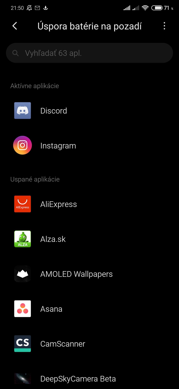 MIUI Xiaomi Redmi automatické zatváranie aplikácií
