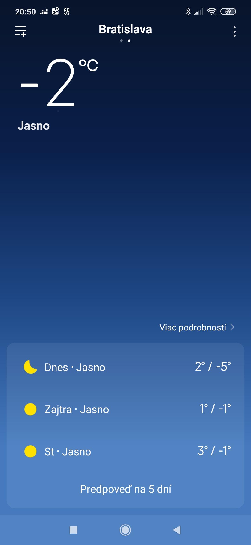 Redmi Note 8T počasie