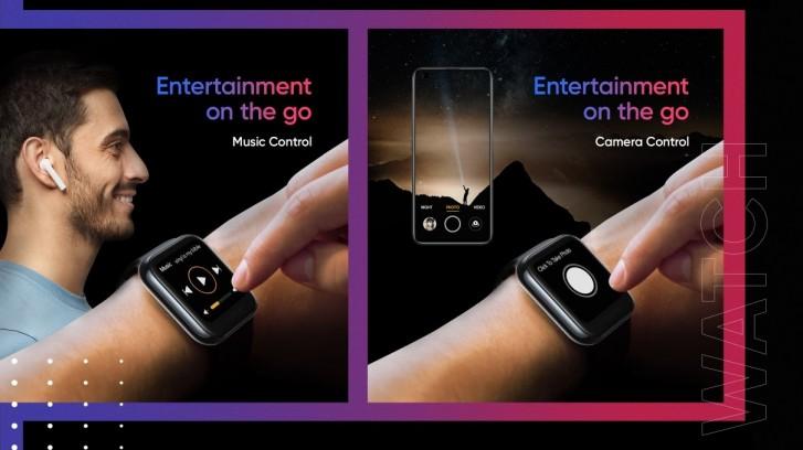 Realme Watch ovládanie hudby a fotoaparátu