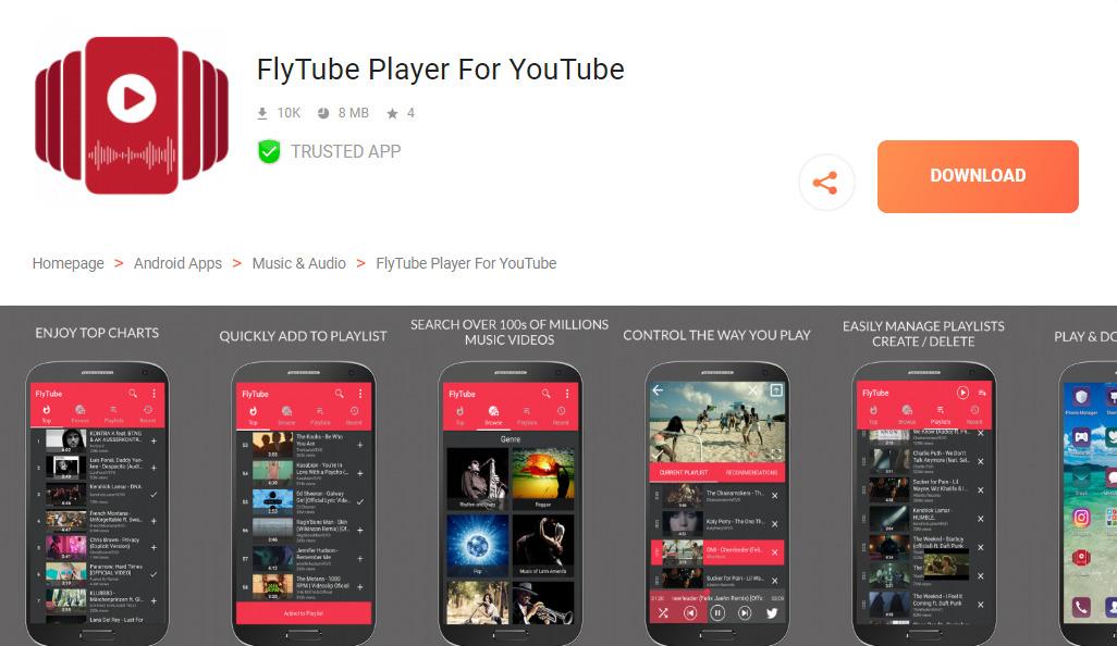 FlyTube Youtube alternatíva