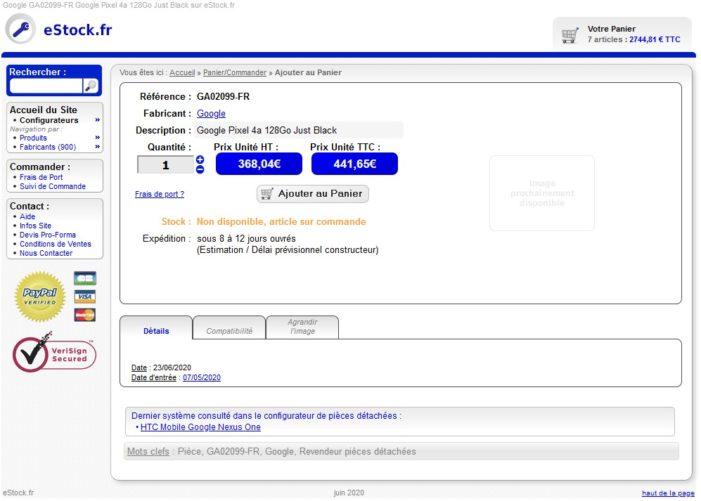 E-shop predávajúci Pixel 4a.