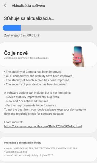 Samsung Galaxy Note 10 aktualizacia