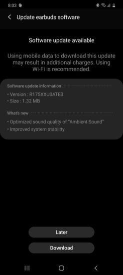 Samsung Galaxy Buds+ aktualizácia