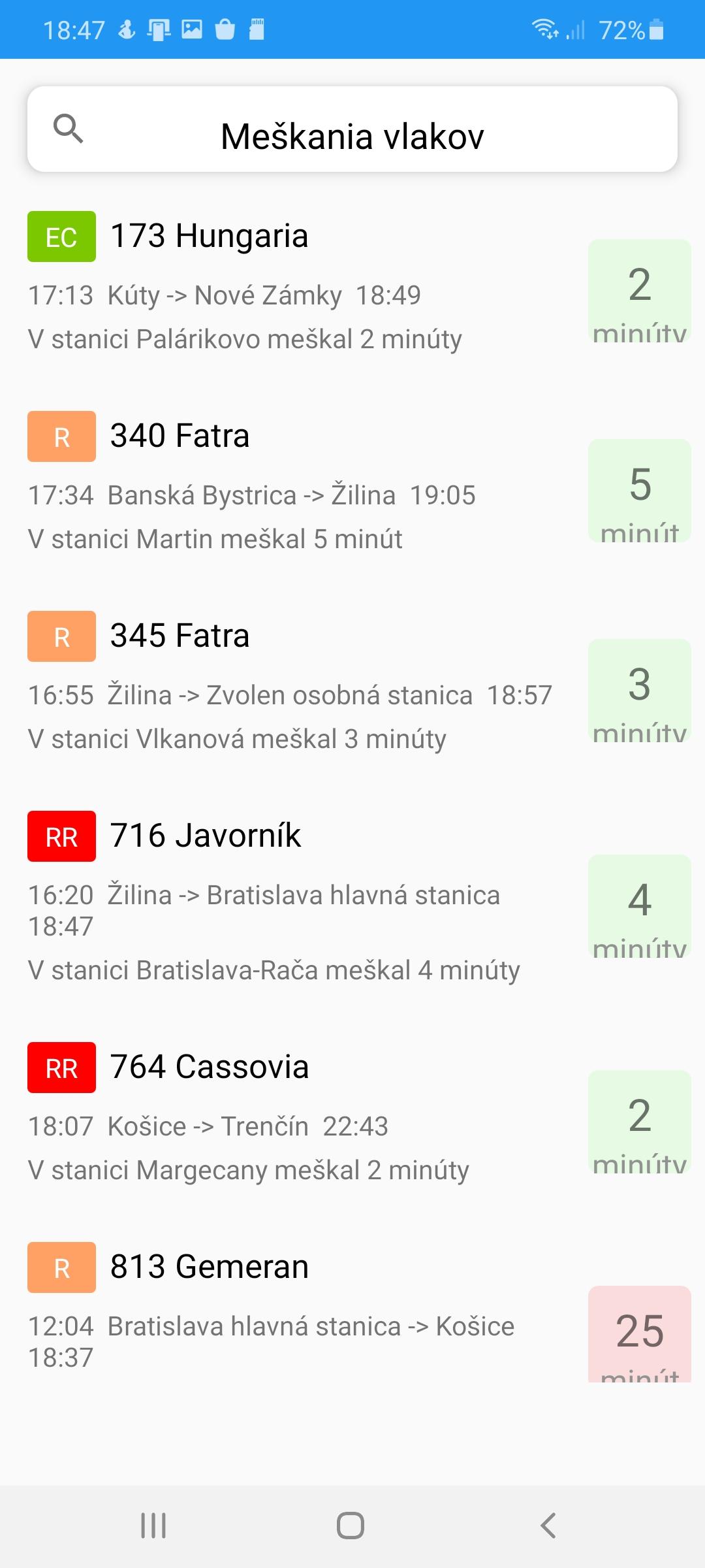 Meškanie vlakov aplikácia zoznam meškaní